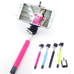 Wholesale Z07 S Extendable Wired Monopod Selfie Stick direct groove Tripod Handheld Monopod Cable Take Pole for IOS Android