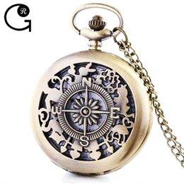 Wholesale GR Ancient Rome Compass Pattern Quartz Movement Pocket Watches Clock Men Hot Gift cm Chain cm Diameter