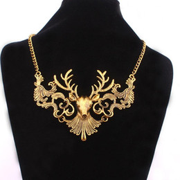 Wholesale Large size Retro Deer head Hollow pendant necklace Ancient Antlers charm Choker Necklace women statement jewelry for Christmas gift