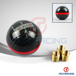 Wholesale PQY STORE Real Carbon Fiber MUGEN Gear Shift Knob Five Speed Manual Automatic Spherical Shift Knob For Honda Acura TOYOTA NISSAN