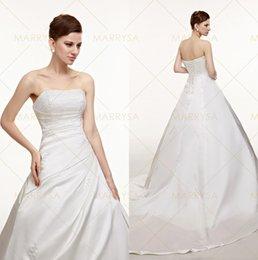 Wholesale Strapless Rhinestone Corset Wedding Dress - Satin A Line Wedding Dresses 2015 Cheap Vintage Rhinestones Strapless Corset Church Bridal Gowns IN STOCK SWD0021