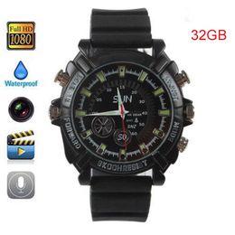 Wholesale 32GB P Waterproof mini Spy Watch Camera IR Night Vision Hidden HD Watch Camera mini camcorders