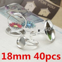 Ring Settings 40pcs Brass Silver Plated 18mm Ring Blanks Tray Finger Ring Cameo cabochon base setting