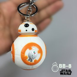 Wholesale 6 CM New Star Wars The Force Awakens BB8 BB R2D2 Droid Robot keychain Action Figure stormtrooper Clone Strap New year toys ak044