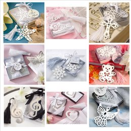 Wedding Favors Wedding Party Gifts Stainless steel Love Bookmark Favors Decorations With tassel Ribbon and Display box