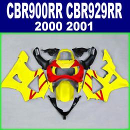 Customize motorcycle set for HONDA CBR900RR fairing kit CBR 929 2000 2001 CBR 900 RR 00 01 yellow red black fairings AX12