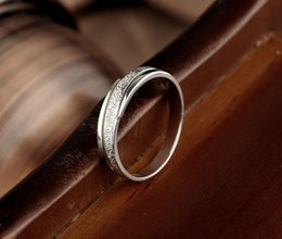 Wholesale manufacturer men and women on the ring sterling silver rings couple frosted creative fashion production rhodium