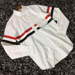 Wholesale-HONO Li TB top selling new arrival brown Fringe Ribbon White Long sleeve Men and women Lovers Turn-down Collar Casual Shirts
