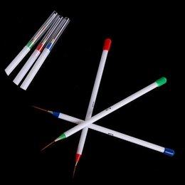 3 White Nail polish gel art Paint Design Pen Tools brushes for manicure Nail Art Design Pen Painting Dotting Brush Set