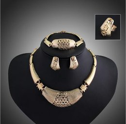 Wholesale African Beads Jewelry Sets Collar Wedding Necklace Earrings Bracelet Fine Rings For Women CZ Diamond Vintage Party Accessories