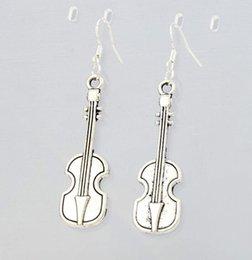 Wholesale 2016 hot x13 mm Antique Silver Cello Music Player Earrings Dangle Silver Fish Ear Hook Chandelier E282