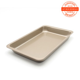Wholesale inch rectangular pan cake box mold grilled chicken wings wide bread plate with baking tools champagne gold