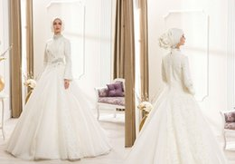 Wholesale 2015 News Hot Dubai online shipping Lace Muslim Wedding Dresses With Pleat Beaded High Neck Long Sleeves Floor Length Bridal Gowns