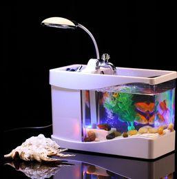 Wholesale Home room decor Mini Desktop Fish Tank USB Aquarium W Calendar LED Table Desk Lamp Light