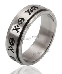 8MM Titanium Stainless Steel Black Skull Spinner Men Ring Band Size 7,8,9,10,11,12 New