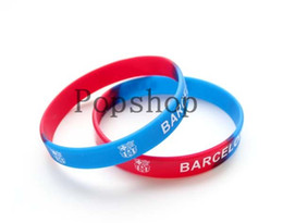 Wholesale 50pcs Football club Blue Silicone wristband letter bracelets bangles sport football souvenirs cheap
