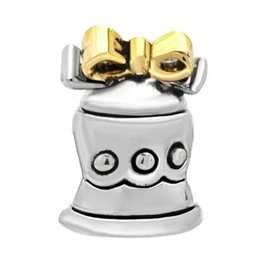 Fashion women jewelry European lovely bowknot bell metal spacer bead lucky charms fits Pandora charm bracelet