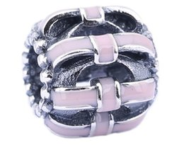 New 925 Sterling Silver Charms Ale Pink Enameled New Year Bow Charms for Pandora Bracelets DIY Beads Accessories