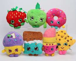 Wholesale Shopping Season Shopping Basket Plush Toys Kookie Cookie Strawberry Kiss Apple Muffin Doughnut Stuffed Dolls for Kids
