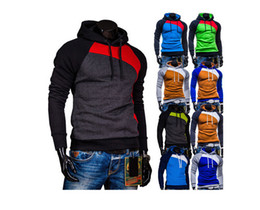Wholesale Men s Clothing Fashion color matching man fleece side zipper Hoodies Sweatshirts Jacket Sweater Assassins creed Size M XL