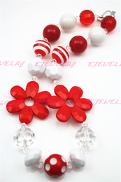 Red Sunflower Girls Chunky Girls Big Bead Girls Necklace Chunky Bubblegum Necklace for kids CB240