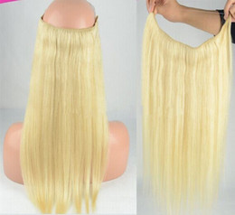 New Hair Products Straight High Quality Flip in Halo Hair Extensions,Fish Line Hair weaving 613# light blonde
