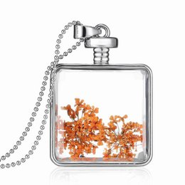 Wholesale 2015 New silver color square locket necklace chain floating real plant dried flowers charm pendant necklaces Best lovers jewelry LN92