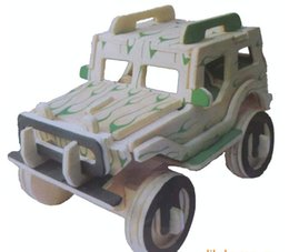 Wholesale Free delivery wooden D jigsaw puzzle toys children s Random delivery special needs jeep and plice car puzzle Educational Toys T0629
