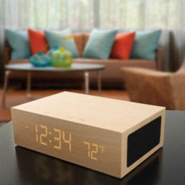 Wholesale riginal Wooden Bluetooth Alarm Clock Stereo Speaker w LED Time Temperature Display NFC USB Charger Handsfree bluetooth speaker display b