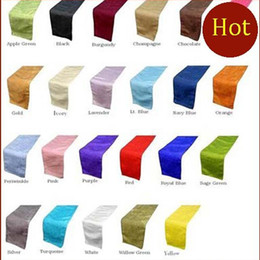 Wholesale 100pcs Satin Table Runner custom any colour for Christmas Wedding Holiday Decor Favor Wedding Decorations shipping free