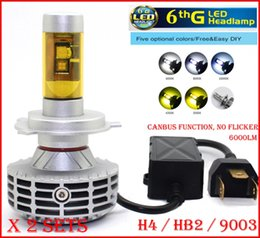 DHL 2 Sets H4 HB2 9003 CREE 80W 6000LM LED Headlight 6th CANBUS No Error Flicker Conversion Kit High Low Beam LED Bulb Super Bright LED Bulb