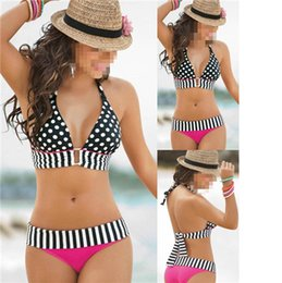 Wholesale Sexy Swimsuit Womens Swimsuits New Womens Sexy Polka Dots and Halter Swimsuit Hot Ladies Strapless and Backless Bikini Sets
