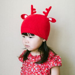 Wholesale Cute kids hat elk-horns kids Fall and Winter hat Santa Claus Rabbit wool baby hat handmade knitted Christmas baby cap top quality