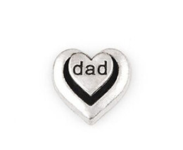 20PCS lot Silver Color Dad Word Letter DIY Heart Floating Locket Charms Fit For Glass Living Magnetic Locket