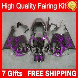 7gifts+Bodywork For HONDA VTR1000 Purple flames RC51 SP1 SP2 00-07 46LC46 VTR1000R RTV1000 2000 2001 2002 2003 07 NEW VTR 1000 Fairing Kit
