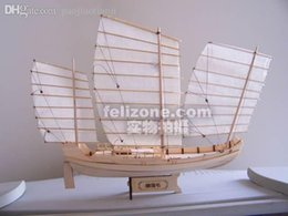 Wholesale Hot sale SC Laser cut wooden sail ship model Ancient Chinese Sailboat Green Eyebrows of Zheng he s armada
