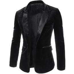 Para hombre de alta calidad de pana Blazers Masculino Slim Fit Negro Rojo Puple individuales Botones Casual trajes de terciopelo de los hombres de la chaqueta formal 2016 desde traje formal de un solo botón delgado fabricantes