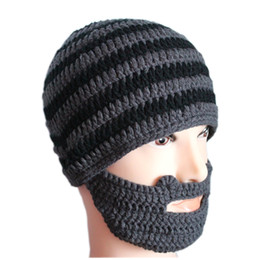 Wholesale Beanie Mask Gorro New Arrival Adult Novelty Hats For Funny Acrylic Handmade And Gery Striped Skullies Knit Hat Beard Ski Hat