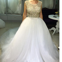 Charming Amazing Crystal Bead Sequins Crew Cap Sleeve A-Line Vintage Wedding Dresses Court Train Long Organza Bridal Gowns No Sleeve Cheap