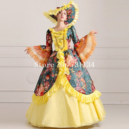 Clearance Noble Yellow And Green Floral Printed Long 18th Century Renaissance Victorian Masquerade Ball Gowns Vestido
