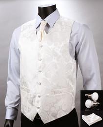 Promotion boutons de manchette de smoking Automne-Blanc Beige Paisley Top Design Hommes de mariage Robe en soie Veste Boutons de manchette en boutons de manchette Cravate Set for Suit Tuxedo