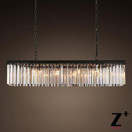Replica item industrial length 80cm CLEAR GLASS PRISM RECTANGULAR CHANDELIER vintage k9 lustre crystal free shipping