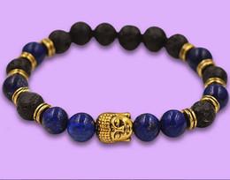 Wholesale Al por mayor al por mayor mm Yoga Nueva Lapiz Lazuli Stone Beads Hombres Buda Energía Joyería Pulseras Meditación regalo del partido