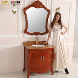 Wholesale European style bathroom cabinet antique bathroom cabinet bathroom wood oak floor bathroom cabinet Continental combination wash station