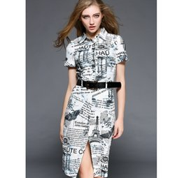 Wholesale 2016 spring summer designer womens dresses white knee length belt letter newspaper pattern print front split fashion brand dress