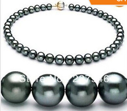 "Real Fine Pearl Jewelry 18""9-10MM TAHITIAN NATURAL BLACK PEARL NECKLACE PERFECT ROUND"