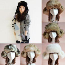 Wholesale Women Men Faux Fur Earflap Caps Russian Trapper Bomber Winter Warm Snow Ski Cap Unisex Trapper Hats Warmer CJD1004