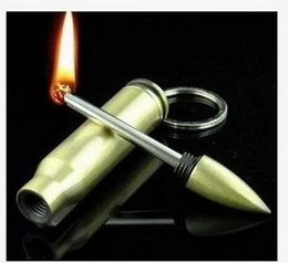 Wholesale Bullet Keychain Lighter Waterproof Outdoor Camping Safety Permanent Match Striker Lighter Metal Keychain Survival