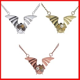 Wholesale punk necklace machine gear big wing bat pendant necklaces statement jewelry for women men steampunk fashion jewelry silver copper