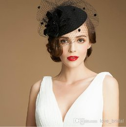Wholesale Black Pillbox Fascinator Hats Wool Cocktail Hats Fascinators Wedding Guest Hat Formal Evening Headwear Felt Hat Feather Perching Fascinator